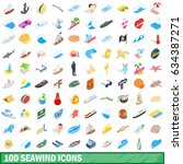 100 seawind icons set in...