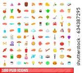 100 pub icons set in cartoon...   Shutterstock . vector #634387295