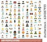 100 people icons set in flat... | Shutterstock . vector #634387955