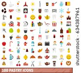 100 pastry icons set in flat... | Shutterstock . vector #634387961