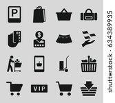 shopping icons set. set of 16... | Shutterstock .eps vector #634389935