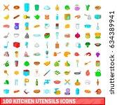 100 kitchen utensils icons set... | Shutterstock . vector #634389941
