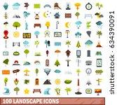 100 landscape icons set in flat ... | Shutterstock . vector #634390091