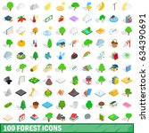 100 forest icons set in... | Shutterstock . vector #634390691