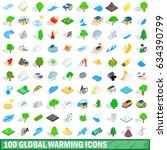 100 global warming icons set in ... | Shutterstock . vector #634390799