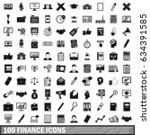 100 finance icons set in simple ... | Shutterstock . vector #634391585