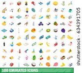 100 emirates icons set in... | Shutterstock . vector #634391705