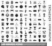 100 awards icons set in simple... | Shutterstock . vector #634394261