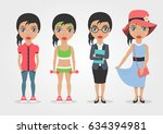 set of four vector girls... | Shutterstock .eps vector #634394981