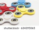 fidget finger spinner stress ... | Shutterstock . vector #634395065