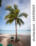 caribbean beach with palm tree | Shutterstock . vector #634398305
