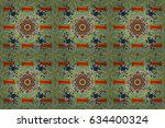 colored round ornament pattern... | Shutterstock . vector #634400324