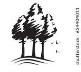 Pines Silhouette Vector  Tree...