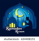 paper art carving of ramadan... | Shutterstock .eps vector #634408151