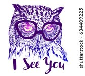 hand drawn owl with glasses and ... | Shutterstock .eps vector #634409225