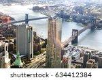 brooklyn bridge and manhattan... | Shutterstock . vector #634412384