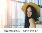 asian beautiful long black hair ... | Shutterstock . vector #634414517