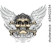 gothic coat of arms with skull  ... | Shutterstock .eps vector #634422254