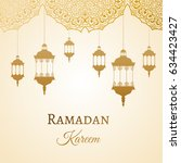 ramadan kareem gold greeting...   Shutterstock .eps vector #634423427