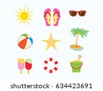 summer holidays beach icons set.... | Shutterstock .eps vector #634423691