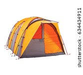 Small photo of Orange Camping Tent Isolated on White Background. Dome Tent on Clipping Path. Camping Equipment