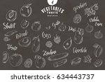 doodle elements of fruit and... | Shutterstock .eps vector #634443737