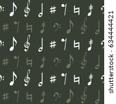 seamless pattern with musical... | Shutterstock .eps vector #634444421