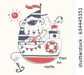 cute bear sailor on the ship... | Shutterstock .eps vector #634445351