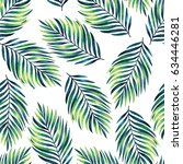 seamless pattern with tropical... | Shutterstock . vector #634446281
