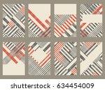 set of 8 trendy geometric... | Shutterstock .eps vector #634454009
