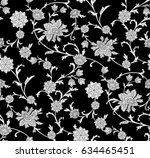 black and white floral pattern | Shutterstock .eps vector #634465451