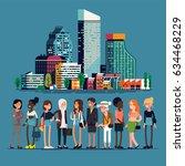 modern women of big city... | Shutterstock .eps vector #634468229