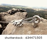 iron twisted rope stretched... | Shutterstock . vector #634471505