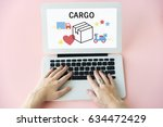 logistics concept on a device... | Shutterstock . vector #634472429