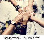 group of fashion designer hands ... | Shutterstock . vector #634475795