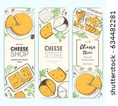cheese top view  vertical... | Shutterstock .eps vector #634482281