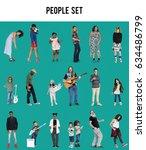diverse of people enjoy music... | Shutterstock . vector #634486799
