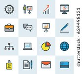 trade colorful outline icons... | Shutterstock .eps vector #634498121