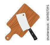 cleaver  butcher's sharp knife... | Shutterstock .eps vector #634507391