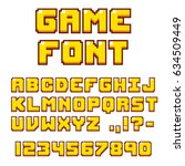 pixel video game font. 8 bit... | Shutterstock . vector #634509449