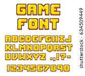 pixel video game font. 8 bit... | Shutterstock . vector #634509449