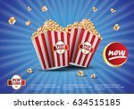 3d popcorn isolated on the blue ... | Shutterstock .eps vector #634515185