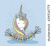 beautiful head unicorn with... | Shutterstock .eps vector #634516775