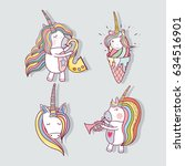 set beautiful unicorn with long ... | Shutterstock .eps vector #634516901