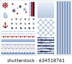 set of marine and nautical... | Shutterstock .eps vector #634518761