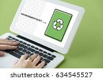 hands working on laptop network ... | Shutterstock . vector #634545527