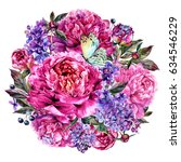 watercolor round bouquet made... | Shutterstock . vector #634546229