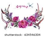watercolor painting of deer...   Shutterstock . vector #634546304