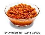 spaghetti bolognese sauce in... | Shutterstock . vector #634563401