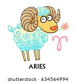 zodiac sign aries. fantastic... | Shutterstock .eps vector #634564994